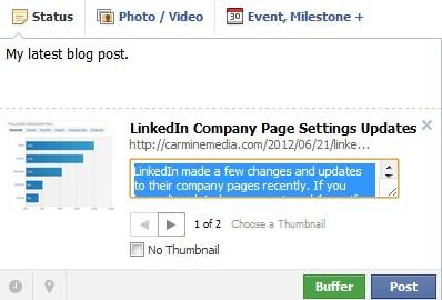 edit Facebook link title and description